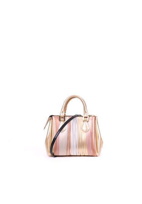 LATEX BAG WITH FRINGES GUM | Bags | BS3579GUMFRSTRPGOLD