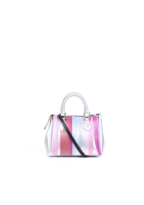 LATEX BAG WITH FRINGES GUM | Bags | BS3579GUMFRSTRPSILVER