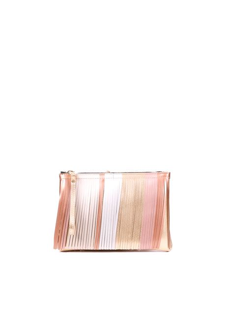 PVC BAG WITH FRINGES GUM | Bags | BS3589GUMFRSTRPGOLD