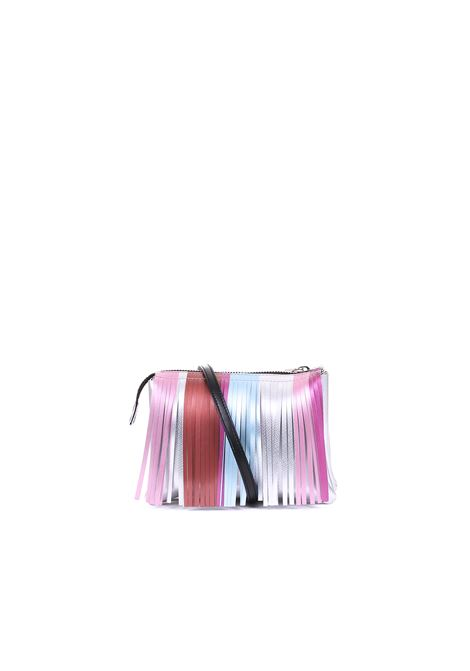 PVC BAG WITH FRINGES GUM | Bags | BS3589GUMFRSTRPSILVER