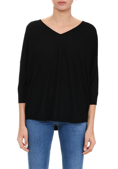 BLACK SWEATER WITH RIBBED EDGES HEMISPHERE | Jersey | HES91914601-17999