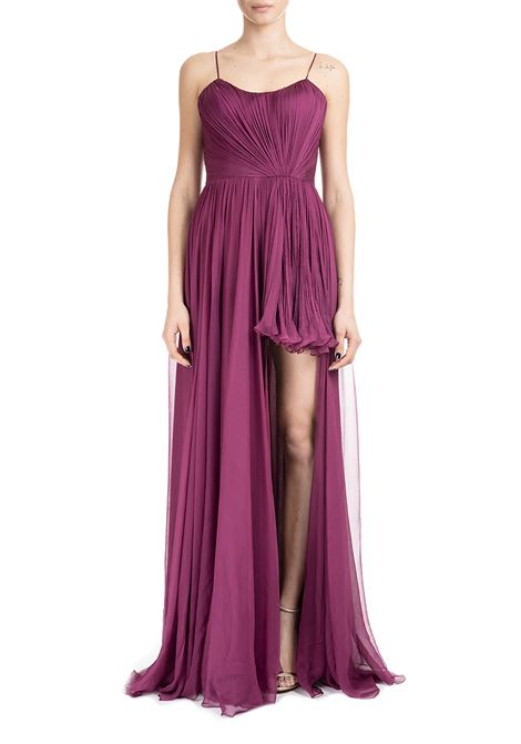 PLUM LONG DRESS IN SILK CHIFFON IRIS SERBAN | Dress | DIANA7SILKPEONIA