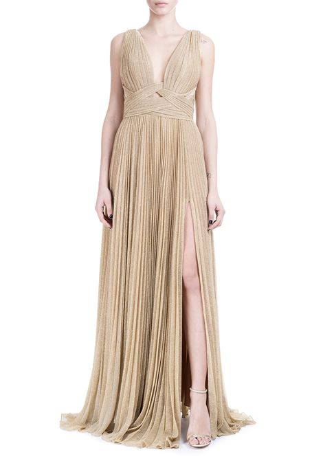 LONG DRESS IN SILK CHIFFON GOLD COLORED IRIS SERBAN | Dress | DOTS1ORO