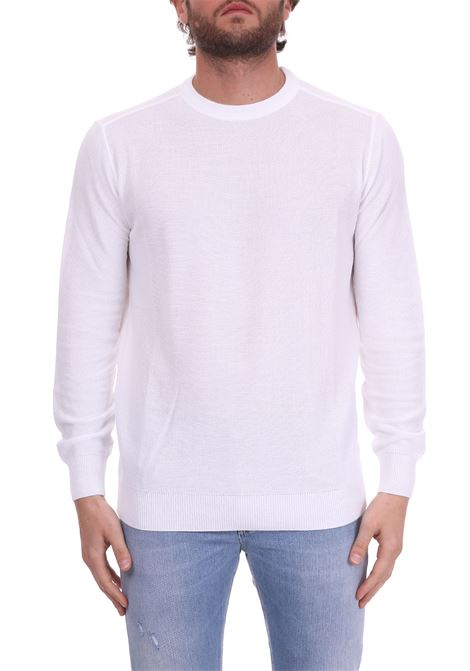 WHITE CREWNECK SWEATER IN COTTON KANGRA | Sweaters | 7007011