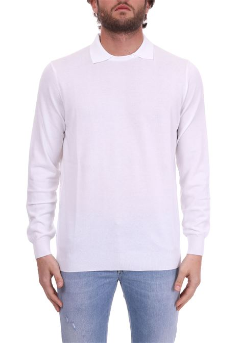 WHITE LIGHT SWEATER WITH POLO COLLAR KANGRA | Sweaters | 7011481