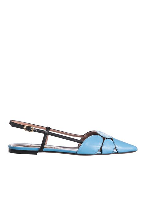 BLACK AND LIGHT BLUE LEATHER SLINGBACK  L'AUTRE-CHOSE | Ballerinas | OSJ20305CC2789G415AZZURRO