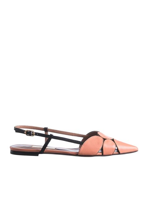 BLACK AND SALMON LEATHER SLINGBACK L'AUTRE-CHOSE | Ballerinas | OSJ20305CC2789G419SALMONE