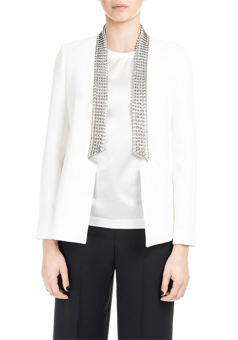 WHITE JACKET WITH COLLAR IN STRASS L'EDITION | Jacket | LE2186BIANCO