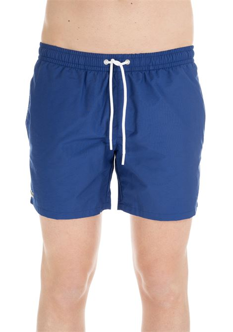 BLUE SWIM SHORTS WITH EMBROIDERY LOGO Lacoste | Swimsuits | MH70929BA