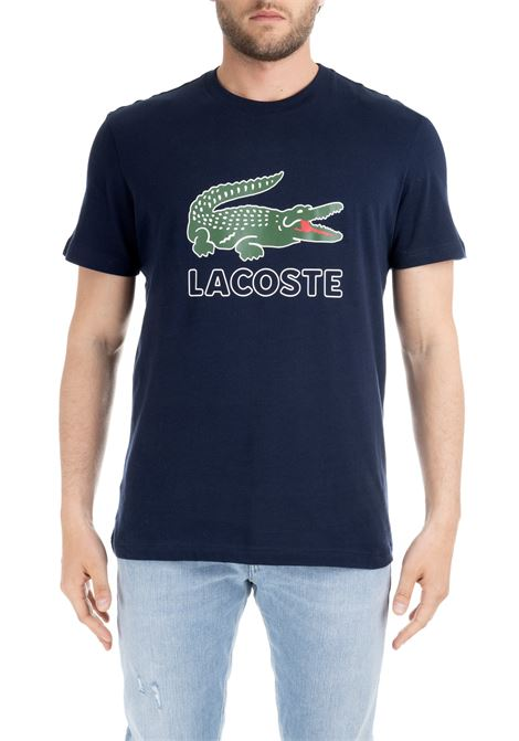 T-SHIRT BLU IN COTONE CON STAMPA LOGO Lacoste | T-shirt | TH6386166