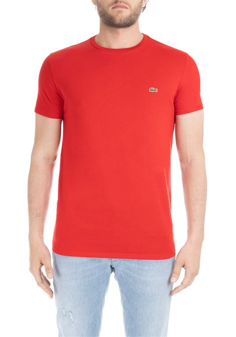 T-SHIRT ROSSA IN COTONE PIMA ULTRA LEGGERO Lacoste | T-shirt | TH6709240