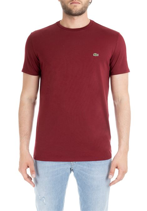 T-SHIRT BORDEAUX IN COTONE PIMA ULTRA LEGGERO Lacoste | T-shirt | TH6709Z7F
