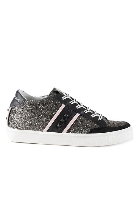 'LC STUDS SNEAKERS - BLACK GLITTER LEATHER CROWN |  | WLC178308