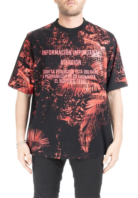 T-SHIRT WITH SLOGAN AND RED FOLIAGE  MARCELO BURLON | T-shirt | CMAA054S199830378828