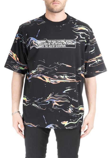 T-SHIRT NERA CON STAMPA LIGHTS MULTICOLOR MARCELO BURLON | T-shirt | CMAA054S199900278801