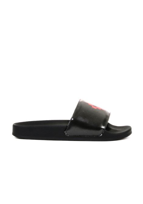 LOW RUBBER SANDAL WITH PRINTED BAND MARCELO BURLON | Slide Sandals | CMIA0274R198490361020