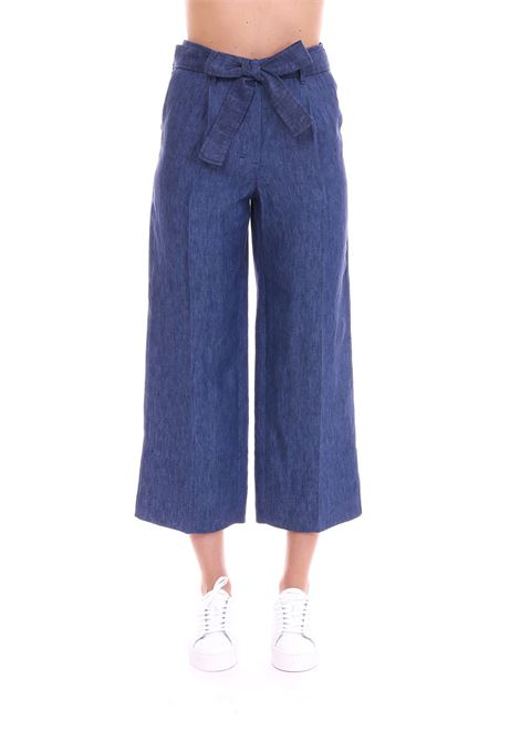 CROPPED PANTS IN DENIM EFFECT LINEN MAX MARA'S | Pants | FRANZ91310892600001