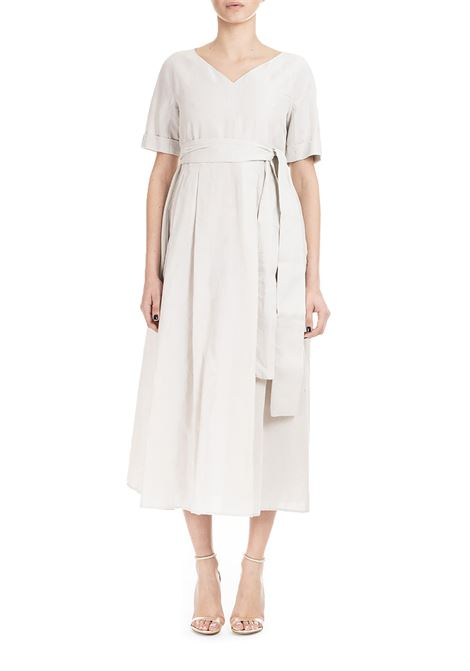 LONG BEIGE DRESS IN RAMIE 'CANVAS WITH SASH MAX MARA'S | Dress | ERIO92210292600001
