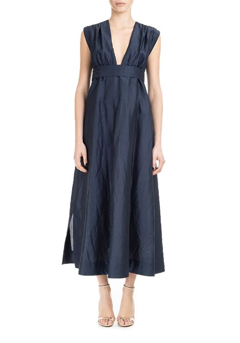 LONG BLUE DRESS IN RAMIE CANVAS AND COTTON  MAX MARA'S | Dress | GENEPI92211792600003