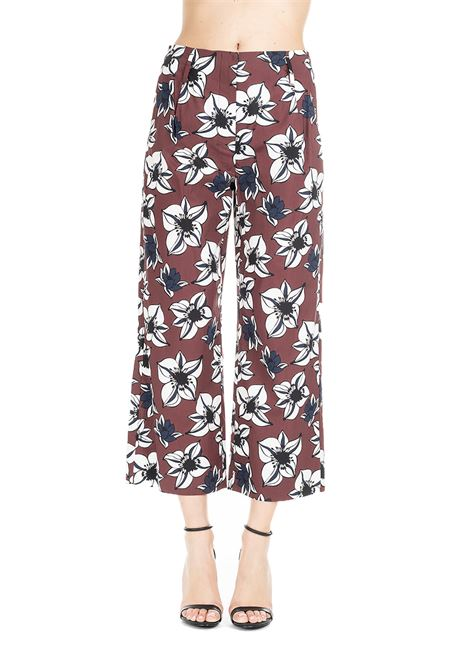 CROPPED BORDEAUX PANTS WITH FLOWER PRINT MAX MARA'S | Pants | SOLISTA91311292600001