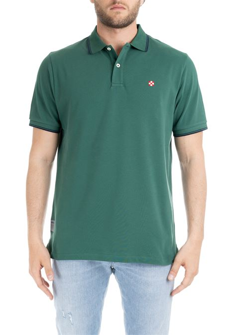 GREEN PIQUET POLO WITH UNDER COLLAR PRINT MC2SAINTBARTH | Polo Shirts | BEVERLYHILLSVERDE