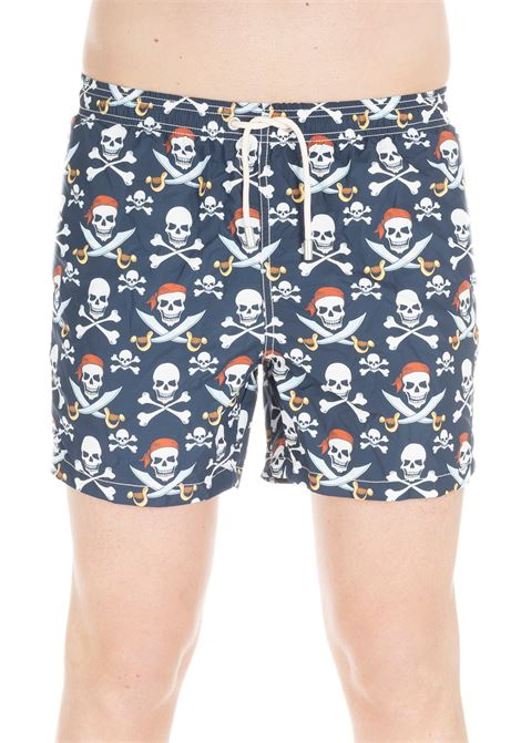 PIRATES PRINT LIGHT FABRIC SWIM SHORT  MC2SAINTBARTH | Swimsuits | LIGHTSWIMSABER61BLU