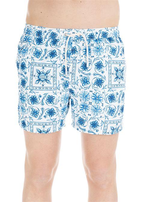 MID-LENGHT SWIM SHORT BLUE MAJOLICA PRINT MC2SAINTBARTH | Swimsuits | MAJOLICADECORATIONBIANCO/BLU