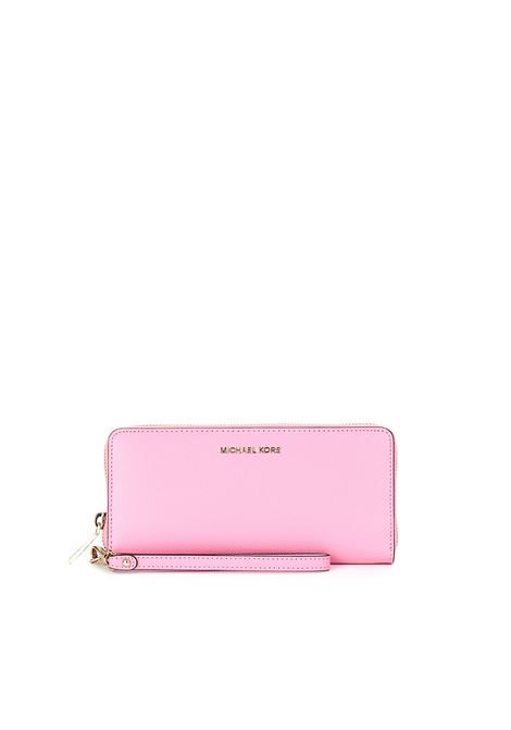 PINK PEBBLED LEATHER JET SET WALLET MICHAEL DI MICHAEL KORS | Wallets | 32H8TF6T3LMONEYPIECES611