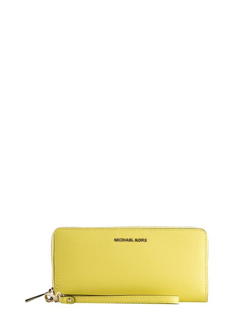 YELLOW PEBBLED LEATHER JET SET WALLET MICHAEL DI MICHAEL KORS | Wallets | 32H8TF6T3LMONEYPIECES708