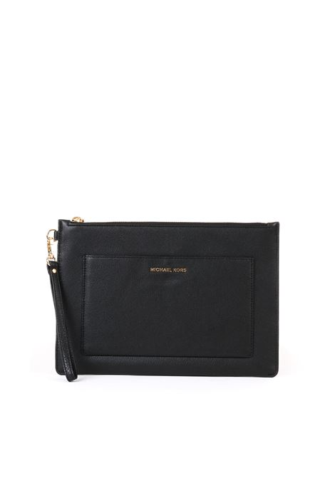 BLACK LEATHER CLUTCH  MICHAEL DI MICHAEL KORS | Clutch | 32S9GF9M7LPOUCHESANDCLUTCHES001