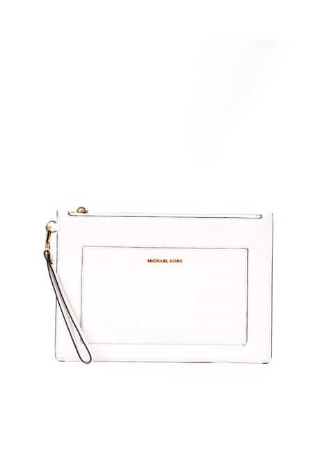OPTIC WHITE LEATHER CLUTCH MICHAEL DI MICHAEL KORS | Clutch | 32S9GF9M7LPOUCHESANDCLUTCHES085