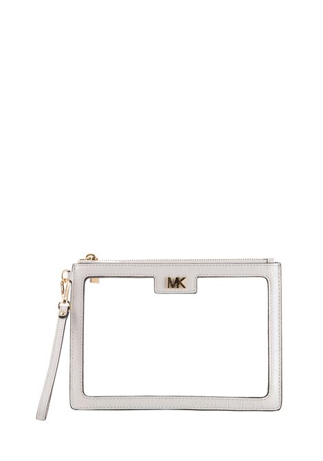CLUTCH IN WHITE LEATHER WITH TRANSPARENT PANELS MICHAEL DI MICHAEL KORS | Clutches | 32S9GF9P6PPOUCHESANDCLUTCHES085