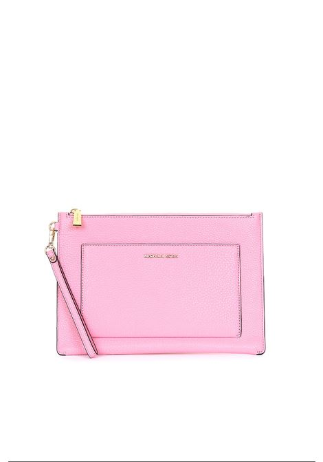 PINK LEATHER CLUTCH WITH GOLDEN LOGO MICHAEL DI MICHAEL KORS | Wallets | 32S9LF9M7LPOUCHESANDCLUTCHES611