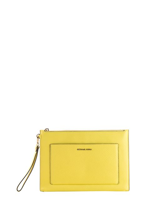 YELLOW LEATHER CLUTCH WITH GOLDEN LOGO MICHAEL DI MICHAEL KORS | Clutches | 32S9LF9M7LPOUCHESANDCLUTCHES708