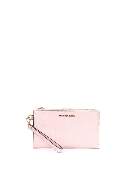 PINK WRISTLET PEBBLED LEATHER CLUTCH  MICHAEL DI MICHAEL KORS | Clutch | 32T7GAFW4LWRISTLETS187