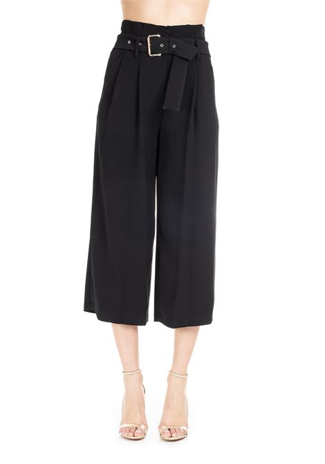 BLACK CROPPED PANTS WITH BELT MICHAEL DI MICHAEL KORS | Pants | MS93H3U6BZ001