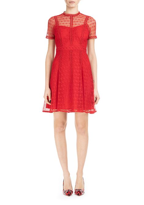 RED MIDI DRESS WITH FLORAL LACE MICHAEL DI MICHAEL KORS | Dress | MS98YRXB1W610