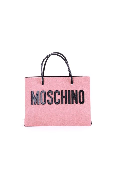 PINK SUEDE SHOPPER WITH GLITTER MOSCHINO | Bags | 74648008A2224
