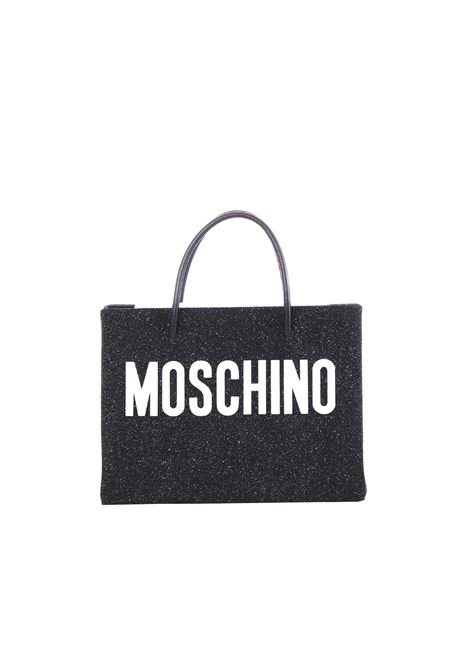 BLACK SUEDE SHOPPER WITH GLITTER MOSCHINO | Bags | 74648008A2555