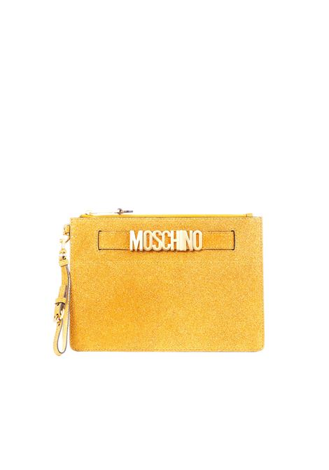 GOLD SUEDE CLUTCH WITH GLITTER MOSCHINO | Clutches | 84248008A1012
