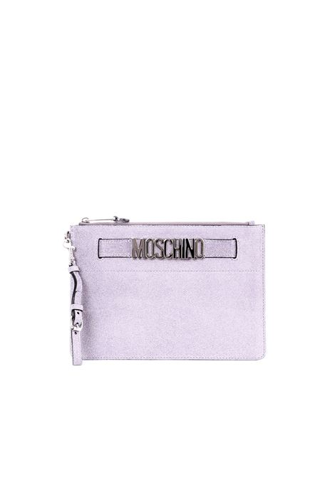 SILVER SUEDE CLUTCH WITH GLITTER MOSCHINO | Clutch | 84248008A1490