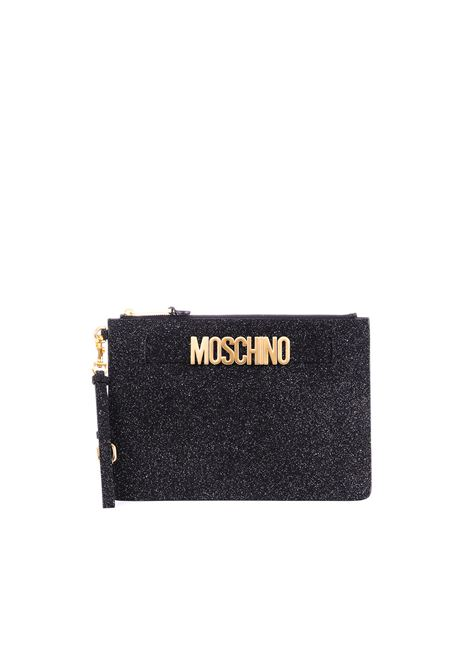 BLACK SUEDE CLUTCH WITH GLITTER MOSCHINO | Clutches | 84248008A1555