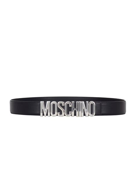 BLACK LEATHER BELT SILVER LOGO MOSCHINO | Belt | A800780013555