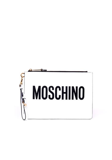 BLACK LETTERING LEATHER CLUTCH MOSCHINO | Clutches | A840580011001