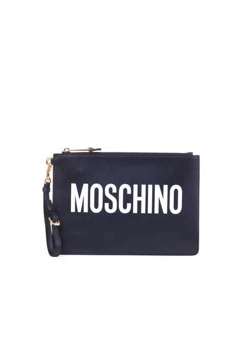 WHITE LETTERING LEATHER CLUTCH MOSCHINO | Clutches | A840580011555