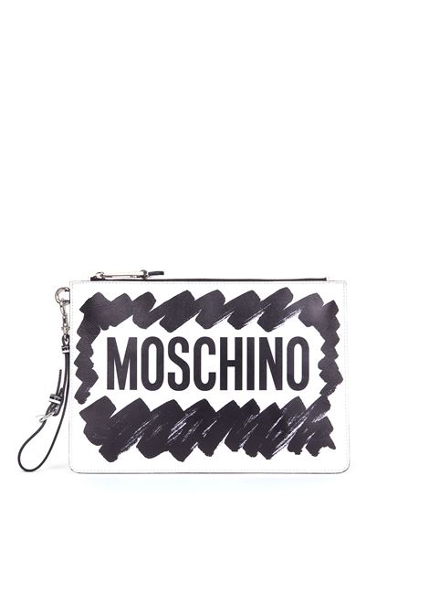 BLACK BRUSHSTROKE CLUTCH MOSCHINO | Clutches | A843480019555
