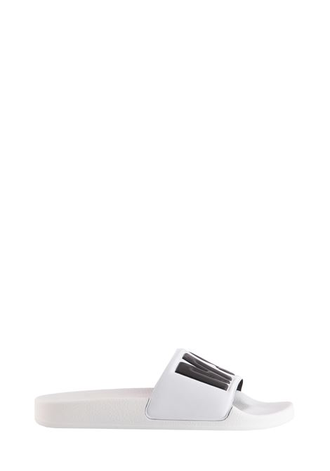 WHITE SANDALS WITH LOGO BAND MSGM | Slide Sandals | 2641MDS1510030001