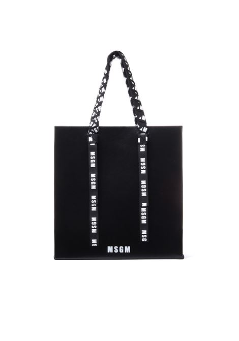 BIG LEATHER SHOPPER WITH LOGOED TAPES MSGM | Bags | 2641MDZ60054099