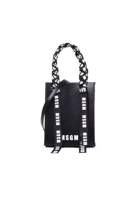 SMALL LEATHER SHOPPER WITH LOGOED TAPES MSGM | Bags | 2641MDZ60554099