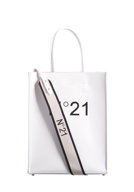 WHITE SHOPPER BAG WITH LOGOED SHOULDER STRAP N°21 | Bag | N05178NT0018SMALLN0174